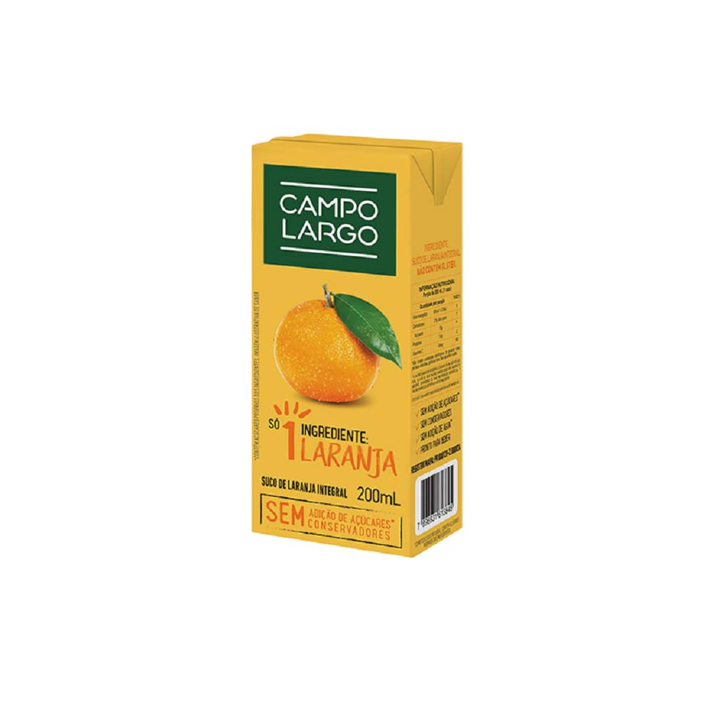CAMPO LARGO SUCO DE LARANJA INTEGRAL 200ML